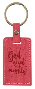 Leather Lux Keyring: God is Great and Mighty