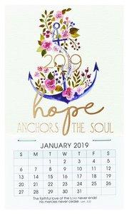 2019 Mini Magnetic Calendar: Hope Anchors the Soul, Floral/Anchor