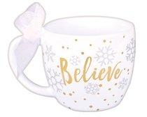 Christmas Season of Joy Ceramic Mug: Believe Gold/White (John 3:16)