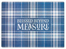 Large Glass Cutting Board: Blessed Beyond Measure, Blue/White Check