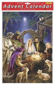 Advent Calendar: Shining Light Manger Scene, Glitter, Bible Text on Back of Windows