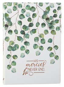 Journal: His Mercies Never End, Green Tree Leaves Luxleather