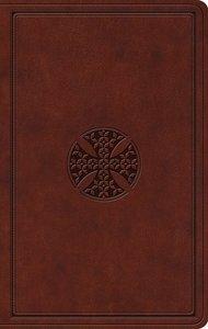 ESV Value Thinline Bible Brown Mosaic Cross Design