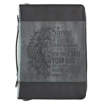 Bible Cover Medium Classic, Be Strong & Courageous, Grey/Black Luxleather (Joshua 1:9)