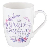 Ceramic Mug: My Grace is Sufficient For You, Pink/Purple Floral Wreath (2 Cor 12:9)
