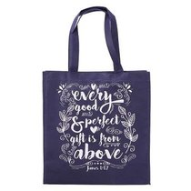 Tote Bag: Every Good & Perfect Gift is From Above, Dark Purple/White (James 1:17)