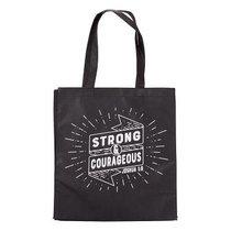 Tote Bag: Strong & Courageous, Black/White (Joshua 1:9)