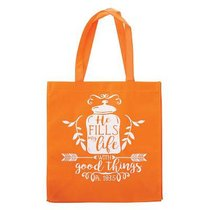Tote Bag: He Fills My Life With Good Things, Orange/White (Psalm 103:5)