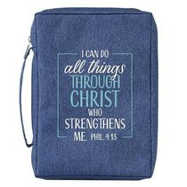 Bible Cover Poly Canvas Medium: All Things Through Christ, Denim, Carry Handle
