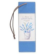 Bookmark Luxleather: For We Live By Faith, Not By Sight, Blue Flowers in Pot/Brown Cord Tassel (2 Cor 5:7)