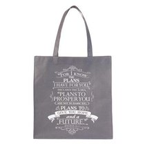Non-Woven Tote: For I Know the Plans, Gray/White (Jer 29:11)