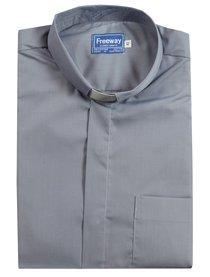 Tonsular Freeway Clergy Shirt Mens Light Grey 43Cm Short Sleeve