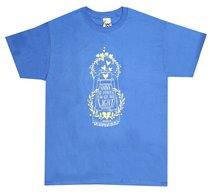 Womens T-Shirt: Shine His Light Large Blue (Matthew 5:15)