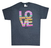 Womens T-Shirt: Love Doodle Small Multicolors (1 Cor 13:8)