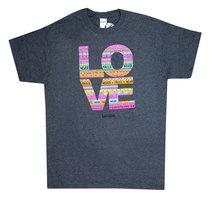 Womens T-Shirt: Love Doodle Xlarge Multicolors (1 Cor 13:8)