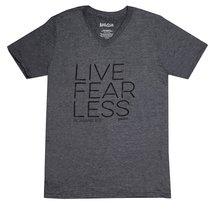 Mens V-Neck T-Shirt: Live Fear Less Small Grey (Romans 8:31)