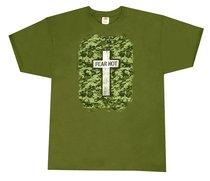 T-Shirt Military Cross: Small Khaki/Silver/Black (Psalm 27:3)