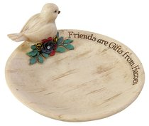 Keepsake Dish Simple Spirits: Friend, Cream With Bird