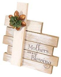 Cross Plaque Simple Spirits: Mother, Cream Cross With Flowers