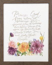 Gracelaced Doxology: Framed Natural Canvas, Coloured Floral Arrangement Under Doxology