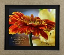 Framed Art Print: I Can Do All Things Through Christ, Orange Geranium (Phil 4:13)