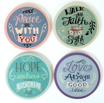 Absorbent Ceramic Coaster Set of 4: Rachel Anne Assortment - Hope Anchors the Soul; Walk By Faith Not By Sight; Love is Always a Good Idea; May Peace Be With You