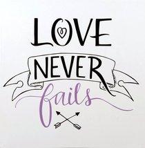 Faith Wall Plaque: Love Never Fails, Purple/White