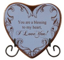 Plaque Heart to Heart: You Are a Blessing to My Heart, I Love You!, Blue
