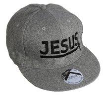 Snapback Cap: Jesus Grey/Black