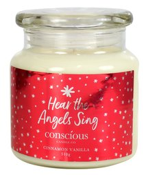 Quality Soy Christmas Candle: Hear the Angels Sing, Cinnamon Vanilla