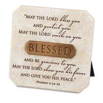 Bronze Title Bar Plaque: Blessed, Cast Stone (Num 6:24-26)
