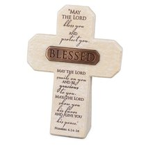 Bronze Title Bar Cross: Blessed, Cast Stone (Num 6:24-26)