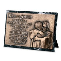 Moments of Faith Sculpture Plaque: Loved Marble (John 3:16) (Rectangle)