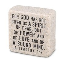 Cast Stone Plaque: Fearless Scripture Stone, Cream (2 Tim 1:7)