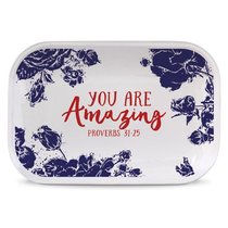 Ceramic Rectangle Tray Pretty Prints: You Are Amazing, Navy/White (Proverbs 31:25)