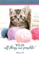 Notepad: With God All Things Are Possible (Kitten With Balls Of Yarn)