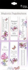 Magnetic Bookmarks Set of 6: Blessed is She Who Believes, Floral