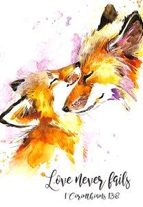 Notepad: Love Never Fails, (1 Cor 13:8) (Mummy & Baby Fox)