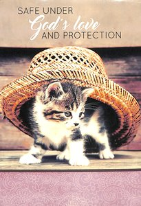 Notepad: Safe Under Gods Love and Protection (Kitten Under Sunhat)