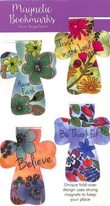 Magnetic Bookmark Set of 4: Floral/Crosses; Have Faith; Believe; Be Thankful; Trust in the Lord