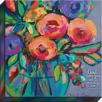 Canvas Wall Art: God Loves You With An Everlasting Love, Floral Bouquet in Vase/Purple Background