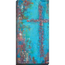 Canvas Wall Print: I Am the Way, the Truth and the Life...Brown Cross/Blue Background