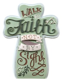 Ceramic Cross: Faith, Pale Green