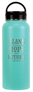 Water Bottle 1000Ml Stainless Steel: Plans to Give You a Hope and Future, Blue (Jer 29:11)
