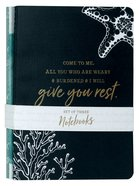 Notebook Set of 3: I Will Give You Rest, Navy/Blue/White (Matthew 11:28)