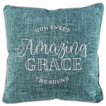 Square Pillow: Amazing Grace, How Sweet the Sound, Blue/White Linen