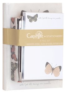 4 Piece Stationery Set: Journal, Blank Notecards, Notepad & Pen, All Things Are Possible