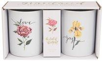 Ceramic Mugs Set of 2: Fruit of the Spirit, Joy & Love, White/Flowers on Each Mug