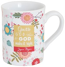 Joyce Meyer Ceramic Mug: Give It to God, Green/White/Yellow Floral