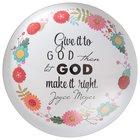 Joyce Meyer Glass Paperweight: Give It to God, Green/White/Yellow Floral